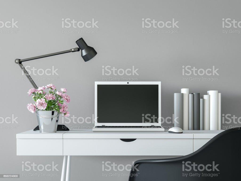 modern black white minimalist furniture interior. Computer, Decor, Desk, Furniture, Hotel. Modern Working Room Interior With Black \u0026 White Minimal Minimalist Furniture N