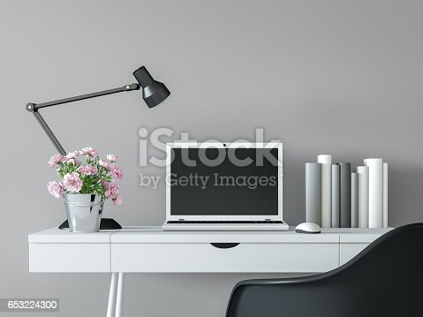 istock Modern working room interior with black & white minimal style 3d rendering image 653224300