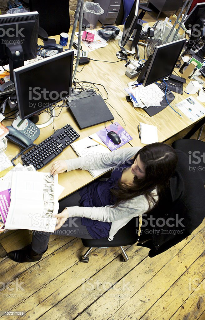 modern workplace: open plan office in a contemporary creative agency stock photo