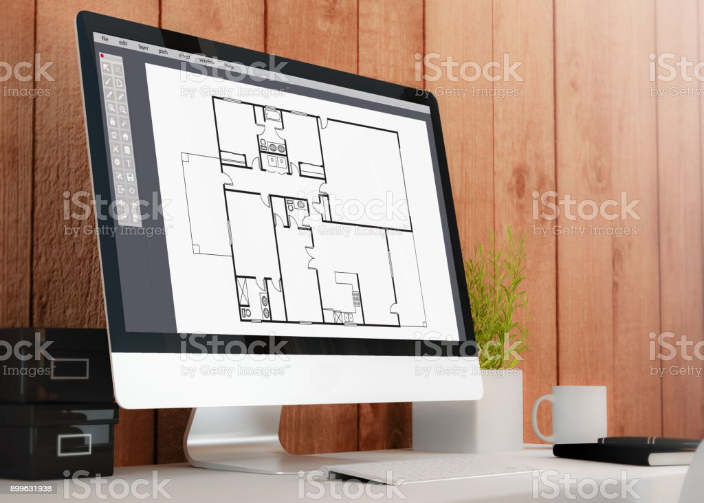 Modern Workspace With Computer Cad Software Stock Photo Download Image Now Istock