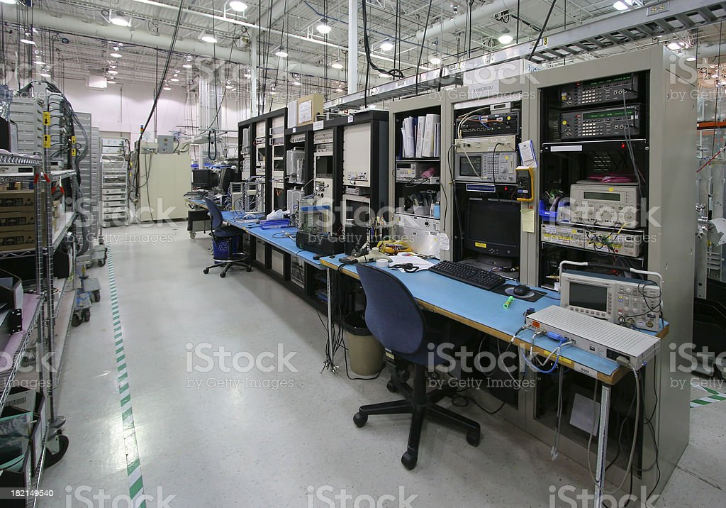 Modern Workstation inside an Industrial Building stock photo