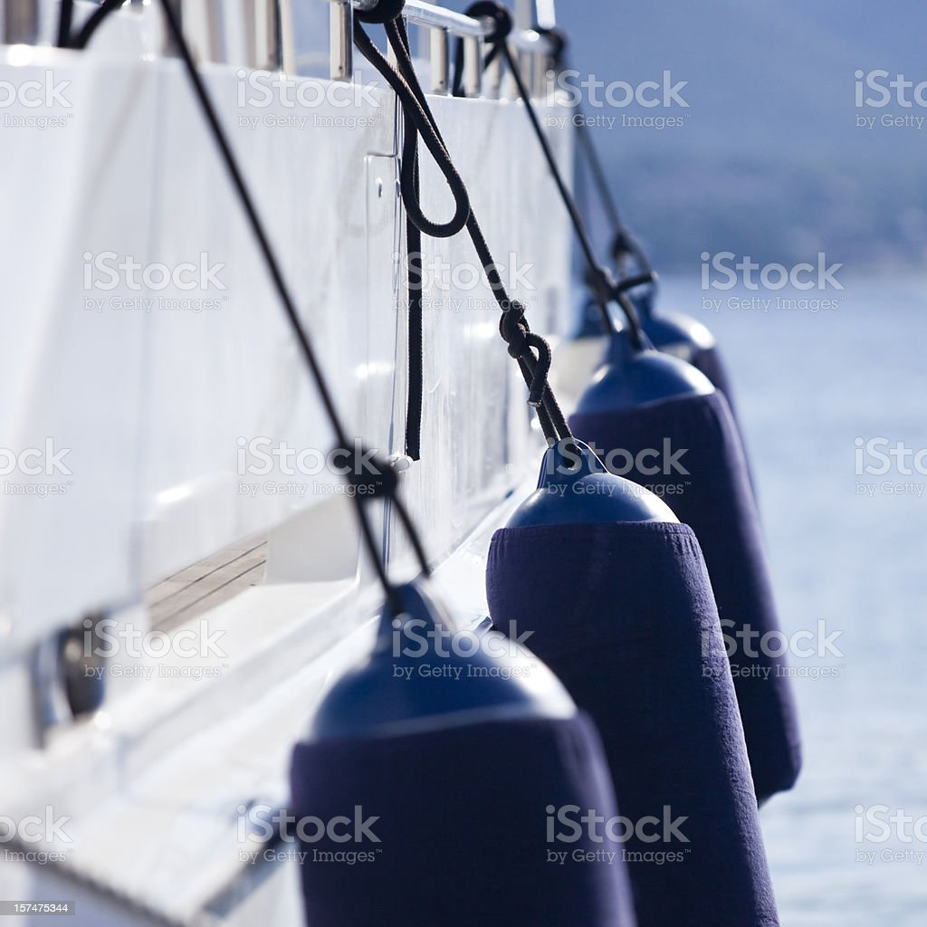 Modern yacht fenders royalty-free stock photo