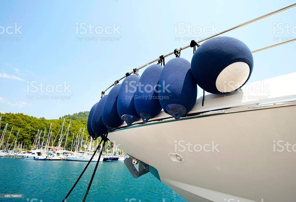 Modern yacht fenders stock photo