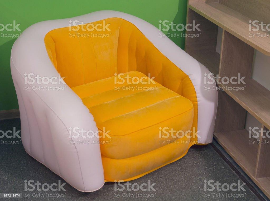 Modern Yellow Chair In Minimalist Interior Furniture Stock Photo