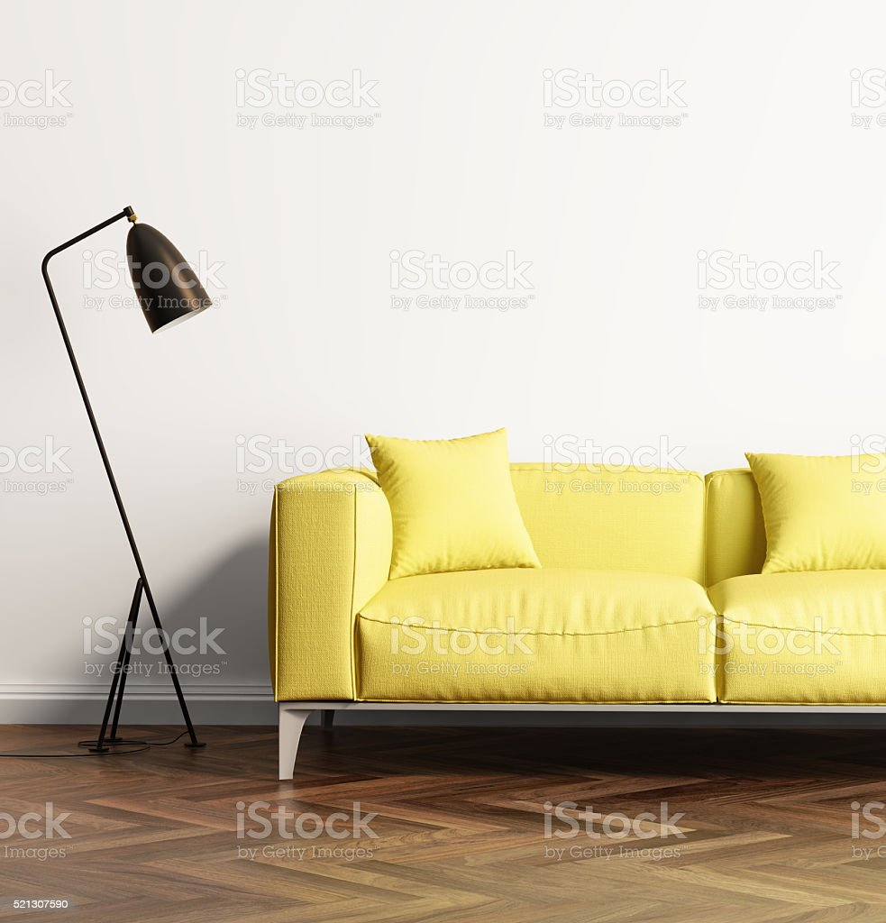 Modern Yellow Sofa In A Fresh Living Room Stock Photo & More ...