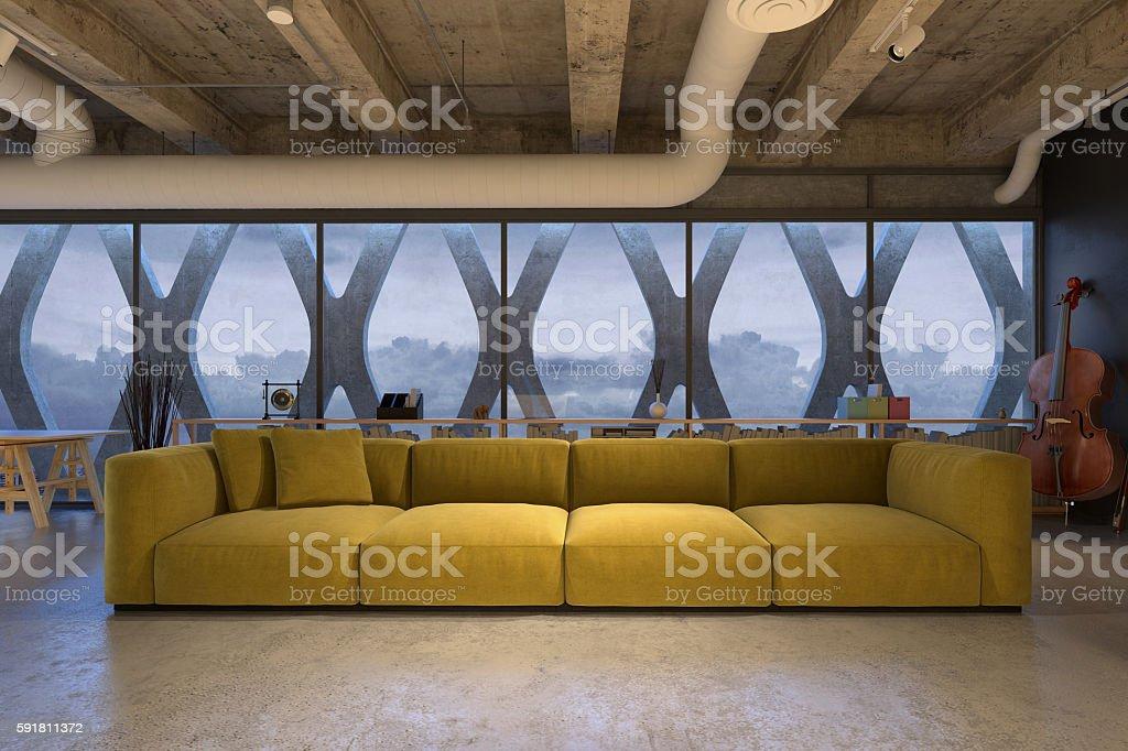 Modern yellow sofa in loft stock photo