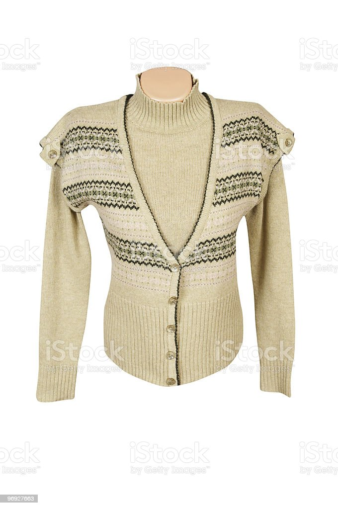 Modern yellow, warm waistcoat and sweater on a white. royalty-free stock photo