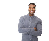 istock Modern young black man smiling with arms crossed 521048755