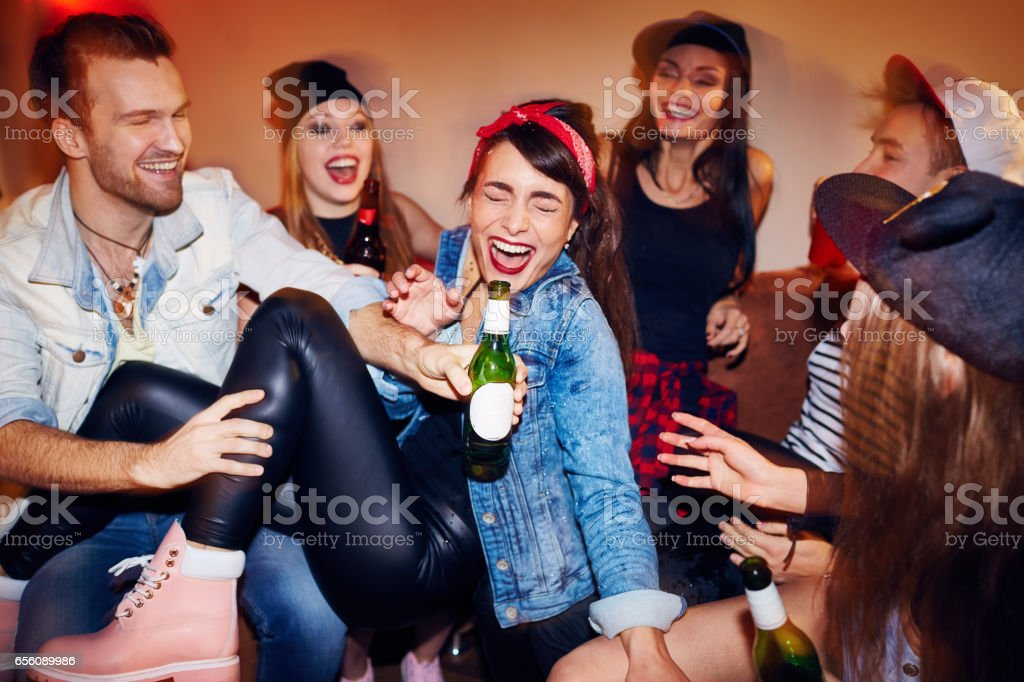 Modern Youth at Late Night Party stock photo