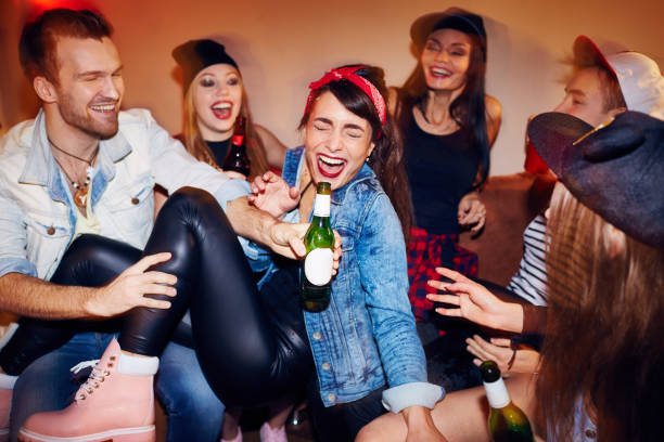 modern youth at late night party - drunk stock photos and pictures