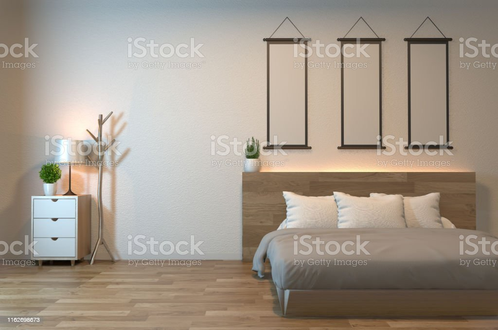 Modern Zen Peaceful Bedroom Japan Style Bedroom With Shelf Wall Design Hidden Light And Decoration Japanese Style3d Rendering Stock Photo Download Image Now Istock