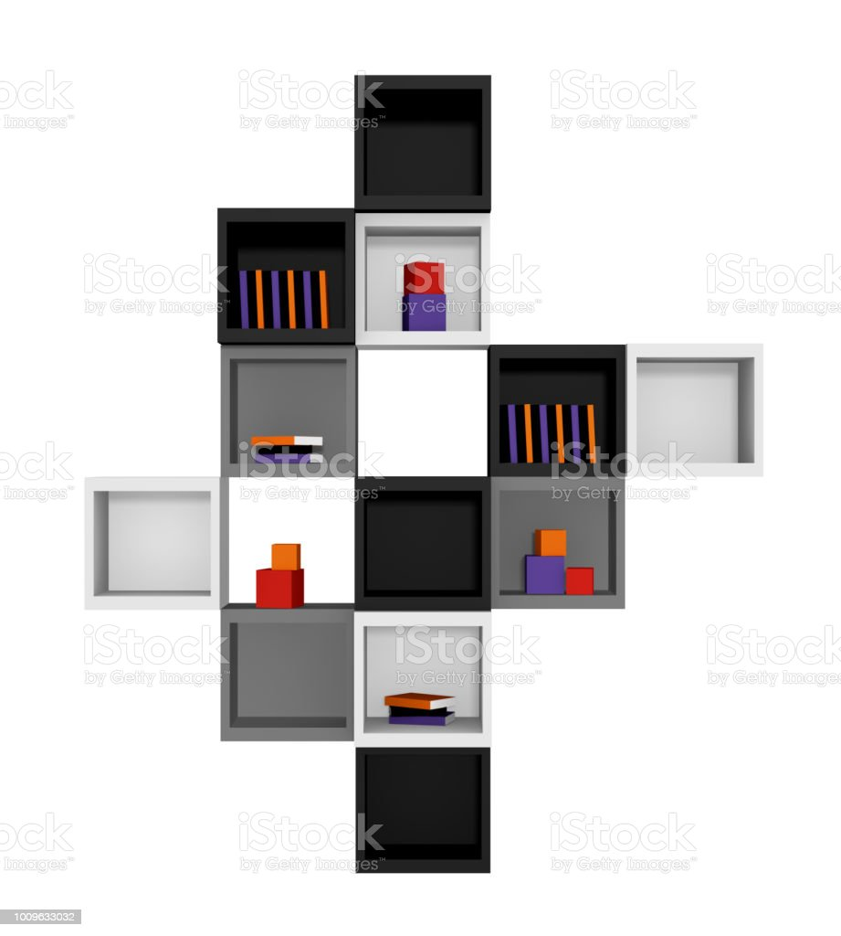 Modernes Wohnen: Regal aus Würfeln in Schwarz, Hellgrau Und Grau Auf Weiß Isoliert. Vorderansicht, – Foto