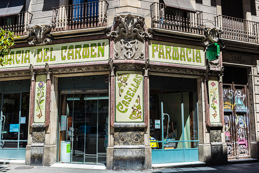 Modernism facade of a pharmacy in Barcelona