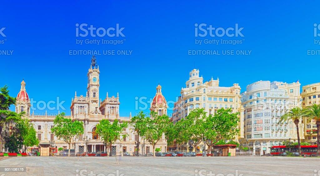 Modernizm Plaza Valencia Belediye Binası, Belediye Meydanı. İspanya. - Royalty-free Banka Stok görsel