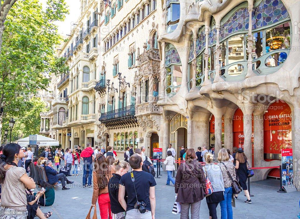 Modernist Casa Batllo facade, in Barcelona, Spain stock photo