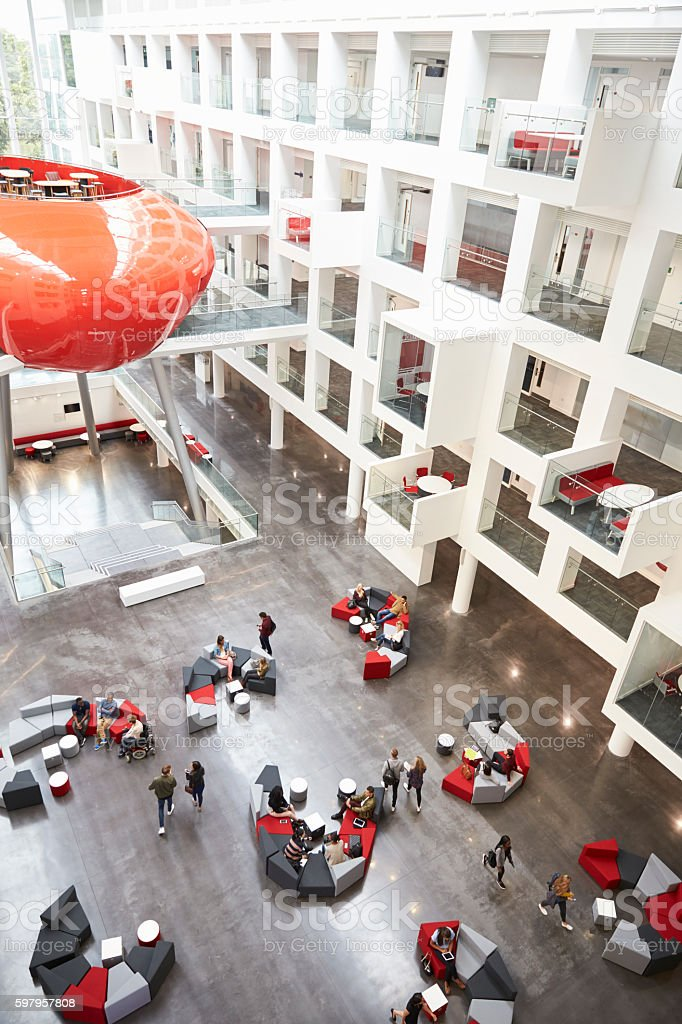 Modernist interior of a university atrium, vertical stock photo