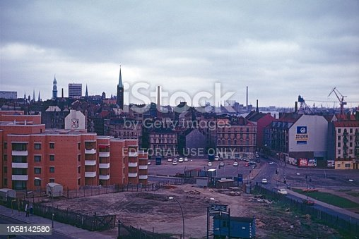 Hamburg, Germany, 1974. Social housing in the 70s. Modernization, reconstruction and City View.