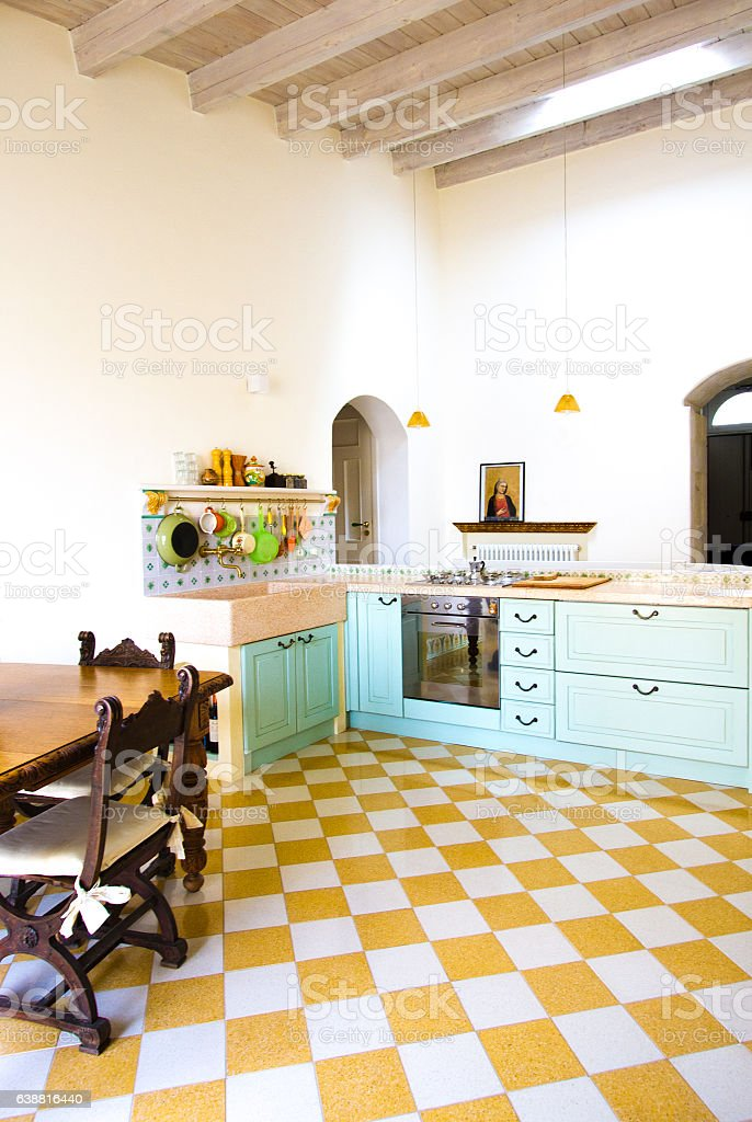Modernrustic Europeanitalian Kitchen With Bright Checked ...