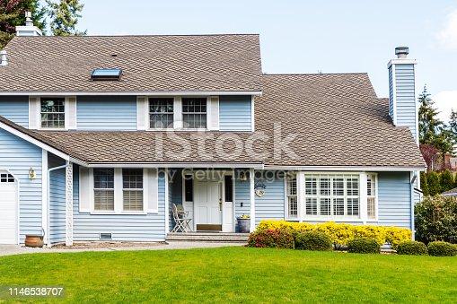 Photo of a modest American suburban house exterior
