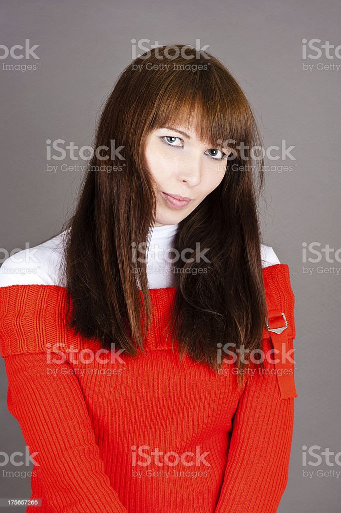 modest woman royalty-free stock photo