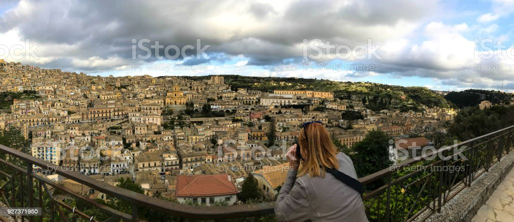 Modica, Sicily: Panorama with St George Cathedral at Dusk - Royalty-free 18th Century Stock Photo