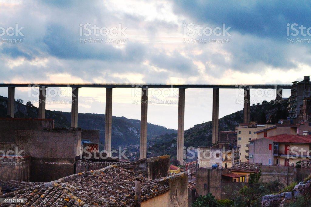 Modica, Sicily: Ponte Guerrieri (Bridge) Spanning Modica's Valley - Royalty-free Architectural Column Stock Photo