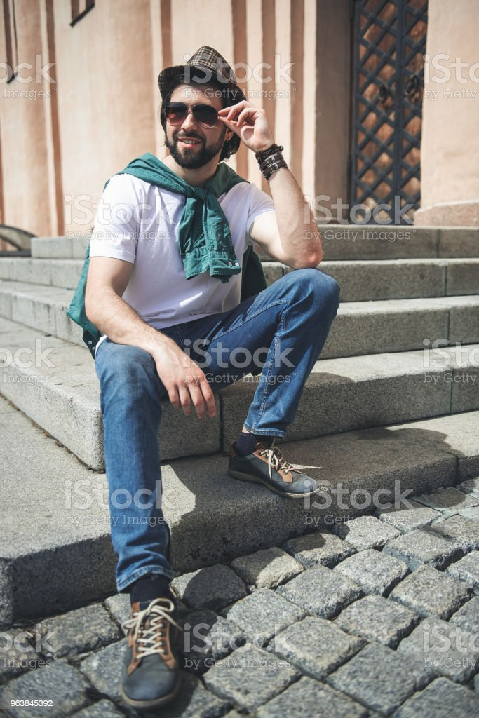 Modish guy enjoying warm day outside - Royalty-free Adult Stock Photo