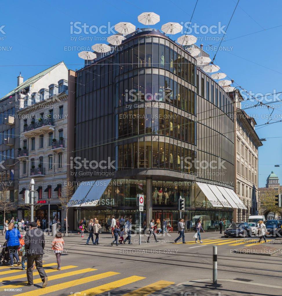 Modissa store building on Bahnhofstrasse street. Bahnhofstrasse is...
