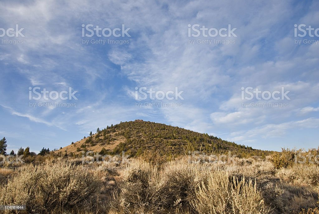 Butte Above Indian Wells stock photo