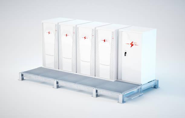 Modular und tragbaren weißen Batterie Energiespeicher auf Stützkonstruktion installiert. 3D-Rendering isoliert auf weiss. – Foto