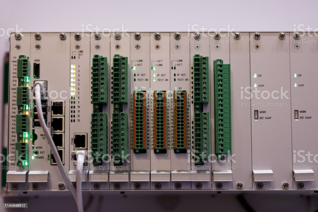 Modular industrial automation and control system. Selective focus.