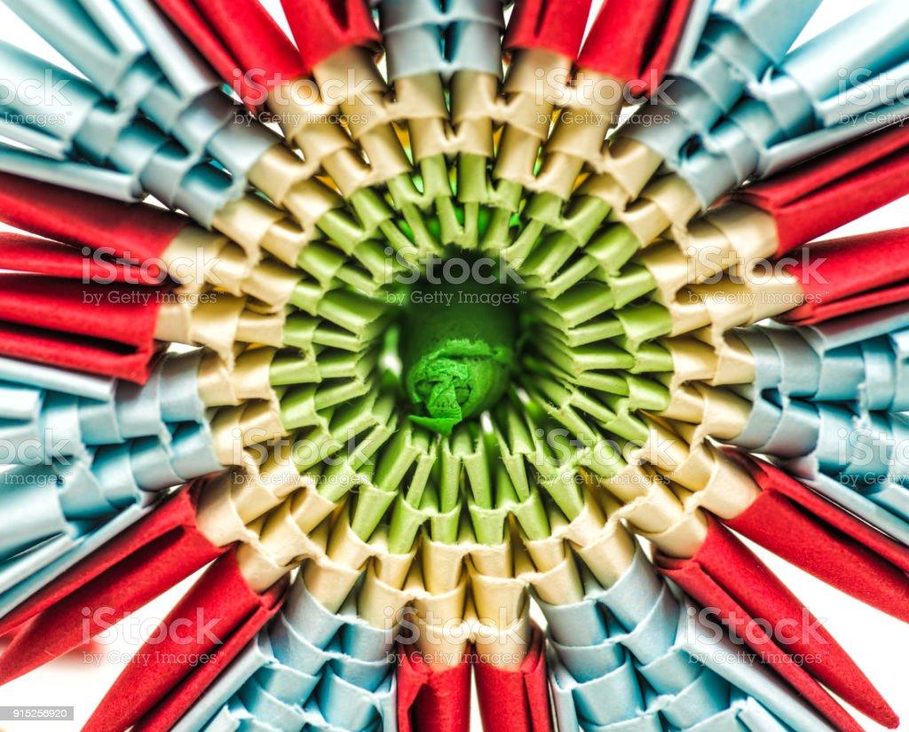 Modular Origami Flower Isolated On White Background Stock Photo