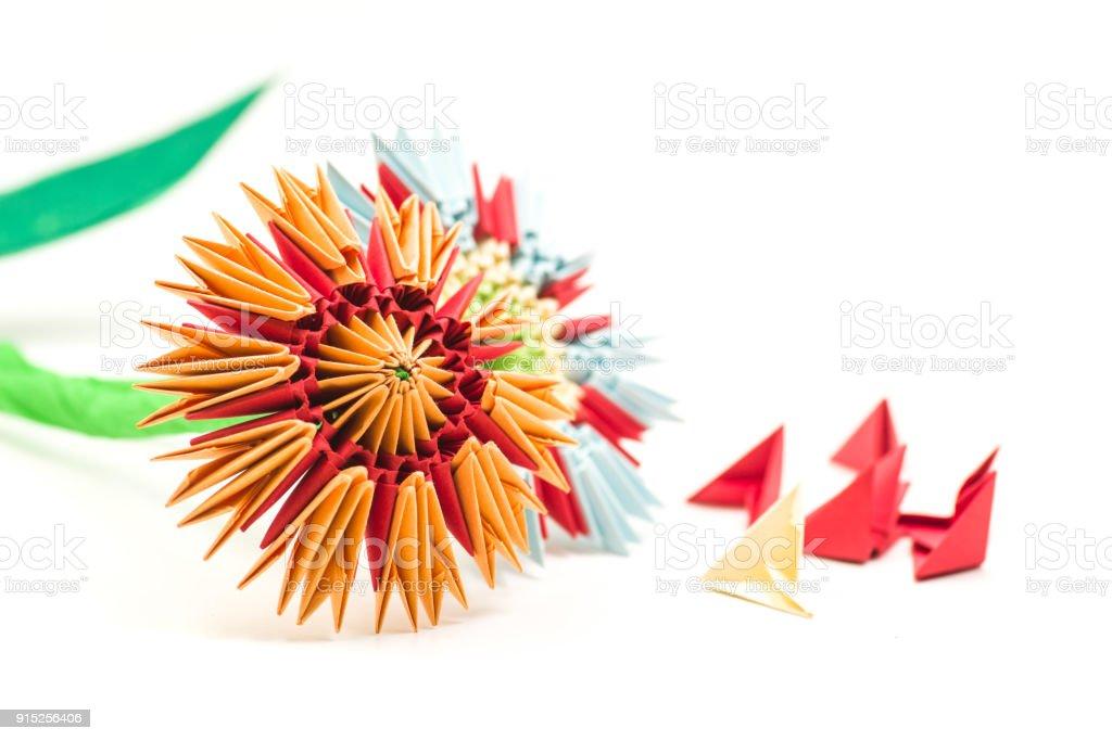 Foto De Flores De Origami Modular Com Módulos Isolados No