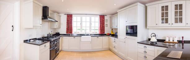 panorámica modular de la cocina de madera pintada, panorámica, cocinas del reino unido - 360 fotografías e imágenes de stock