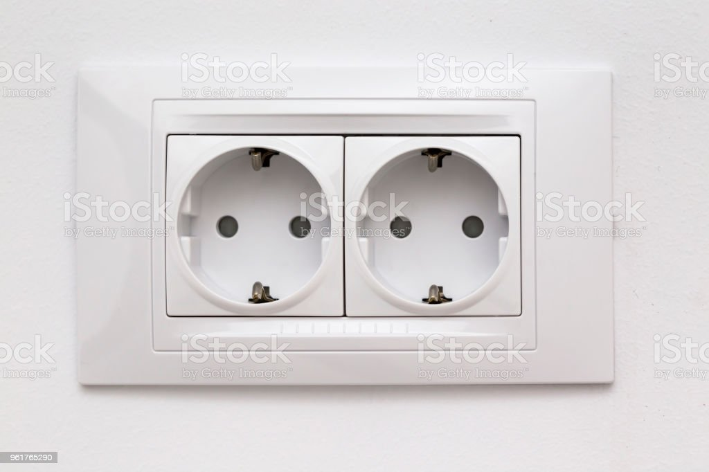 Modular socket composed by two power outlet stock photo