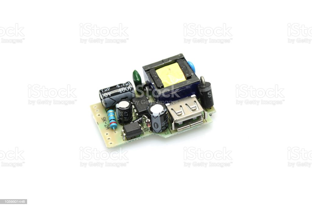 Module with electronic components stock photo