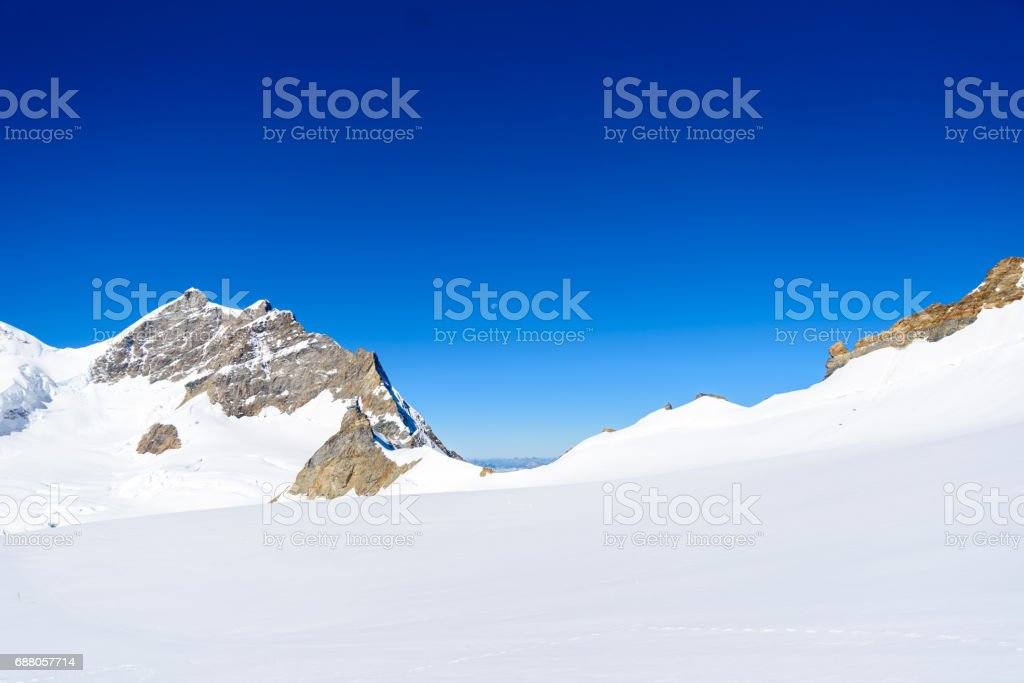 Moench mountain - View of the mountain Moench in the Bernese Alps in Switzerland stock photo