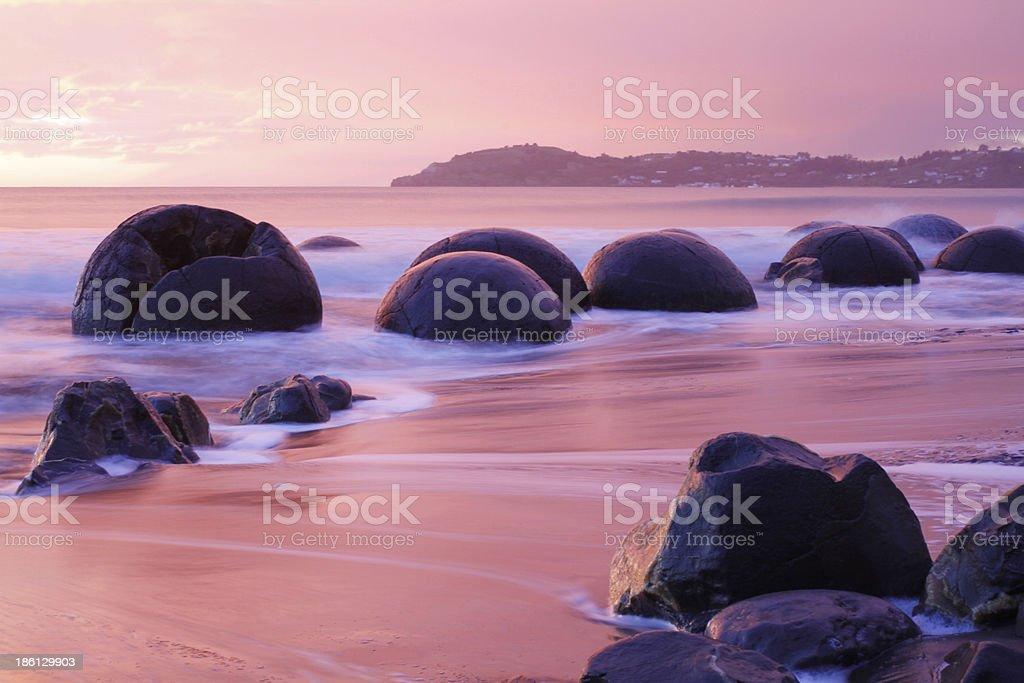 Moeraki Boulders at Sunrise royalty-free stock photo