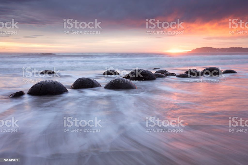 Moeraki Boulders, New Zealand stock photo
