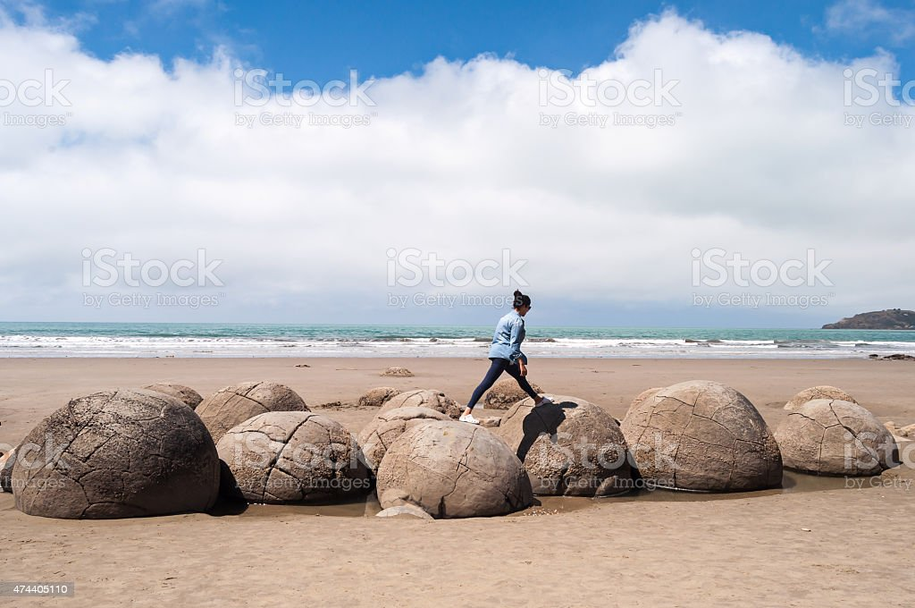 Moeraki Boulders stock photo