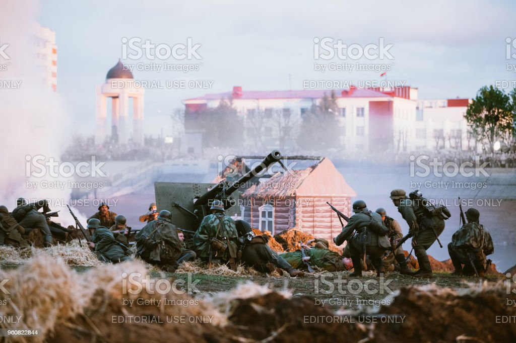 Mogilev, Belarus. Reconstruction of Battle during events dedicated to 70th anniversary of the Victory of the Soviet people in the Great Patriotic War. stock photo