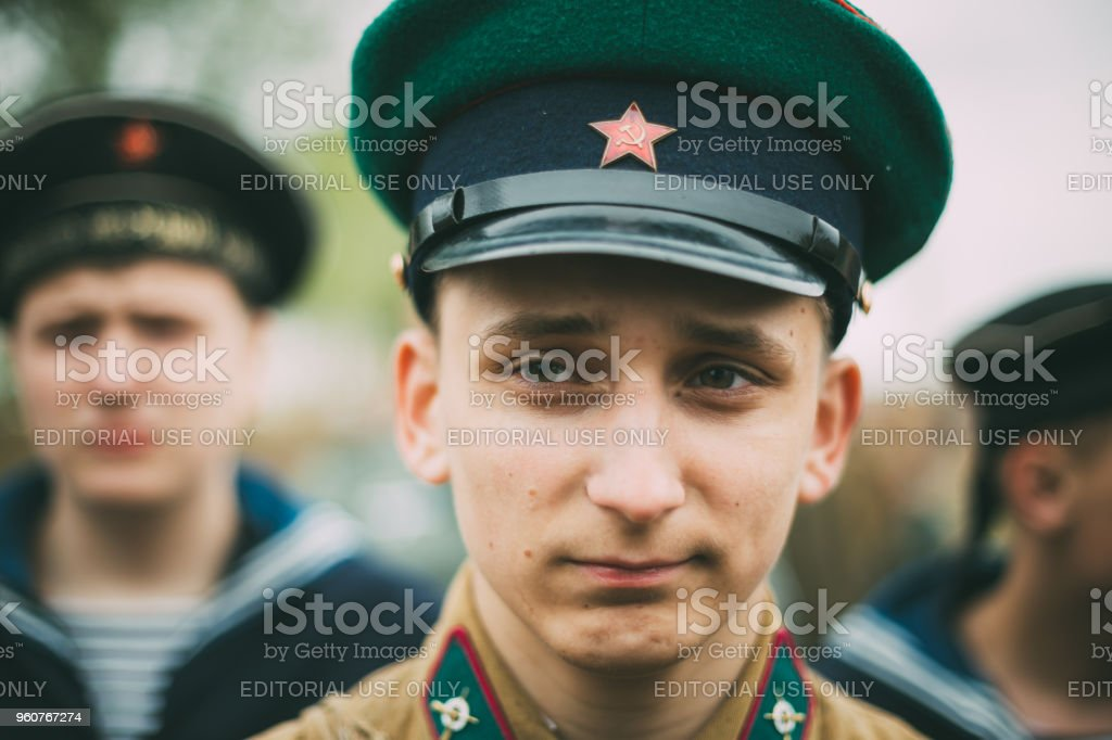 Mogilev, Belarus. Unidentified re-enactor dressed as Soviet soldier during events dedicated to 70th anniversary of the liberation of Belarus from Nazi invaders and the Victory of the Soviet people in the Great Patriotic War. stock photo