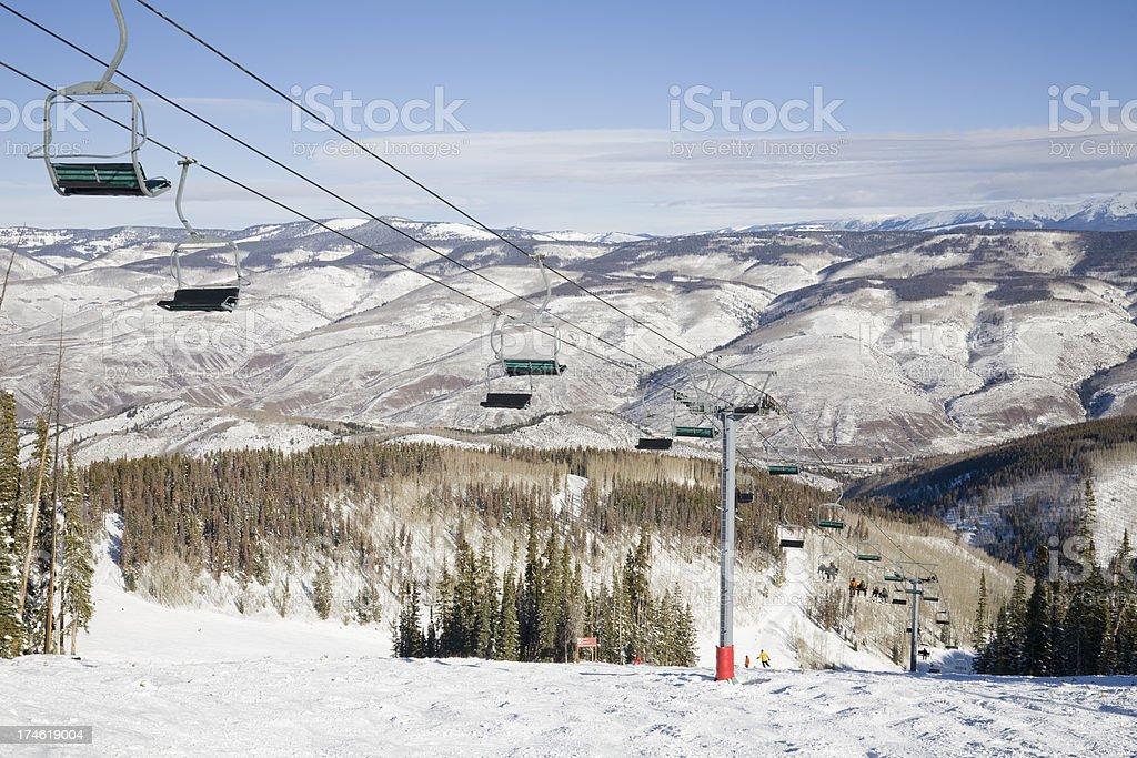 Mogul Run and Chairlift stock photo