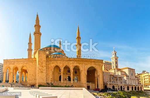 Mohammad Al-Amin Mosque and Saint Georges Maronite cathedral in the center of Beirut, Lebanon