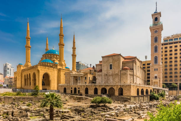 Mohammad Al-Amin Mosque Beirut Lebanon Mohammad Al-Amin Mosque in Beirut capital city of Lebanon Middle east beirut stock pictures, royalty-free photos & images