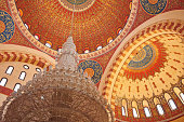 Detail of decorated dome with chandelier at the Mohammad Al-Amin Mosque. Beirut. Lebanon.