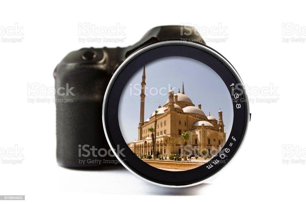 Mohammad Ali Mosque Seen Through a Lens of a Camera stock photo