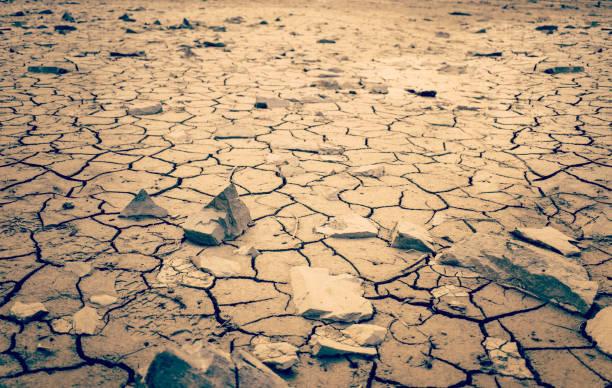Mohave Desert Dry Cracked Desert Earth Wasteland Dramatic Shot stock photo