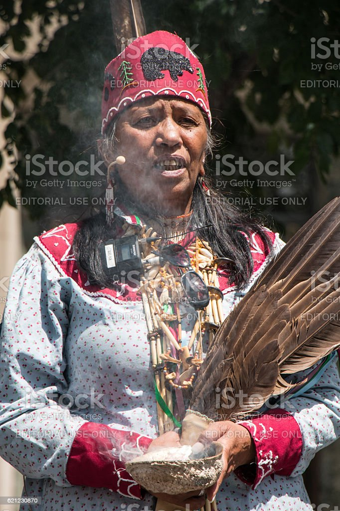 Mohawk woman celebrates National Aboriginal Day stock photo