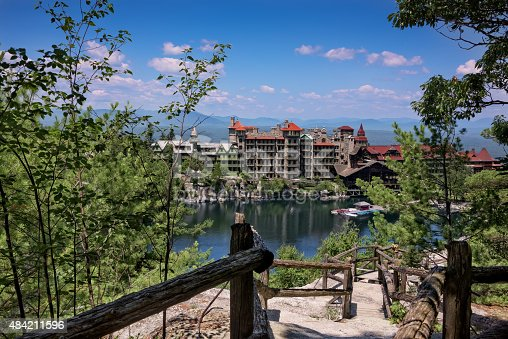 Scenic view of Mohonk Mountain House and the Hudson Valley in New Paltz, New York